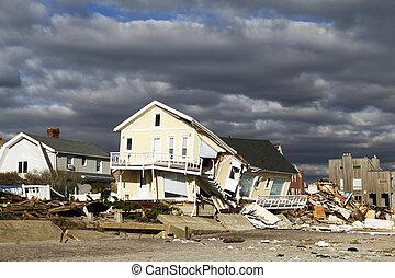 FAR ROCKAWAY, NY - NOVEMBER 4: Destroyed beach house in the aftermath of Hurricane Sandy on November 4, 2012 in Far Rockaway, NY