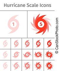 Hurricane scale icons - Set of hurricane scale icons....