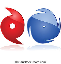 Hurricane - Set of two weather icons representing hurricanes...