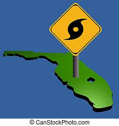 hurricane sign on Florida map - hurricane warning sign on...