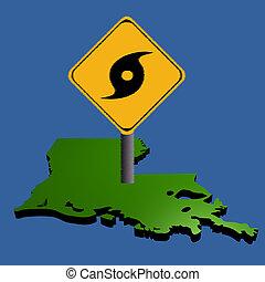 hurricane sign on Louisiana map