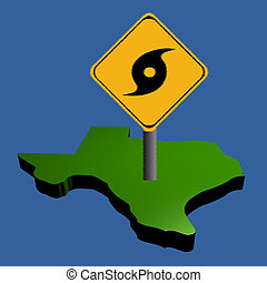 hurricane sign on Texas map - hurricane warning sign on...