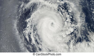 Hurricane Storm, over the earth, satellite view.
