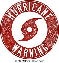 Hurricane Warning Stamp - Distressed Hurricane Warning...