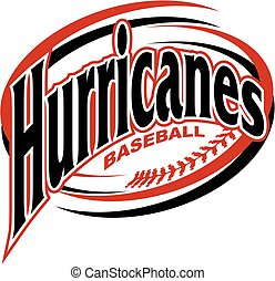 hurricanes baseball team design with swooshes and laces for school, college or league
