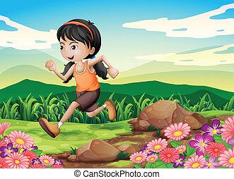 hurriedly, meisje, rennende , jonge