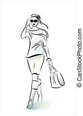 hurring, flicka, shoppingväskan