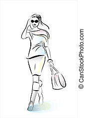 hurring shopping girl with bag