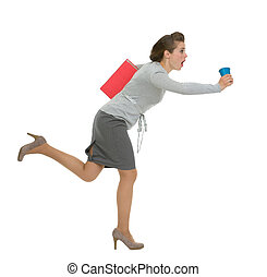 Hurry business woman with folder and cup running