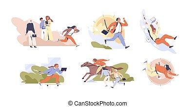 hurry., collection, white., vecteur, illustration., vie, gestion, ensemble, agité, femmes, scènes, plat, occupé, gens, courant, concept, temps, date limite, différent, hommes, isolé, allure