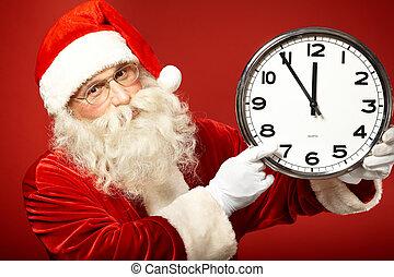 Hurry for Christmas - Photo of Santa pointing at clock...