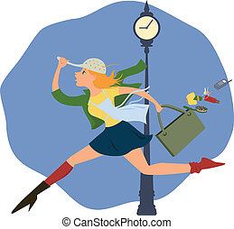 Hurry up! - Cartoon of a young woman, running half-dressed...