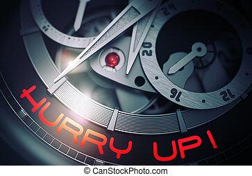 Hurry Up on Luxury Wristwatch Mechanism. 3D.