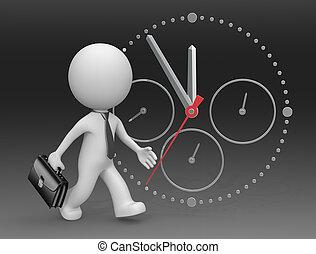 Hurry Up. - The dude 3D character businessman rushing. Clock...