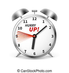 Hurry up vector concept background with alarm clock