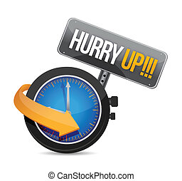 hurry up watch message illustration design over a white...