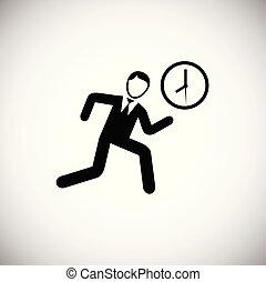Hurrying businessman runs on white background