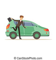 Hurrying man character running to his car, businessman is ...
