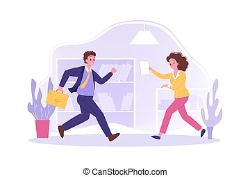 Hurrying people in office, business concept