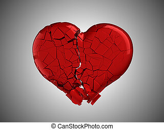 Hurt and pain. Red Broken Heart over grey background