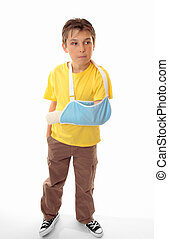 Hurt boy in arm sling