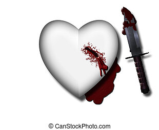 hurt - bleeding heart with bloody knife