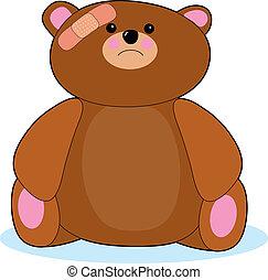 Hurt Teddy Bear - Teddy bear with bandage on his head