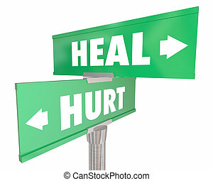 Hurt Vs Heal Injury Recovery Two Road Street Signs 3d Illustration