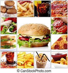 hurtig mad, collage, hos, cheeseburger, ind, centrum