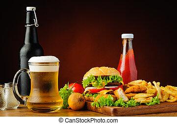 hurtig mad, menu, og, øl