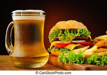hurtig mad, og, øl