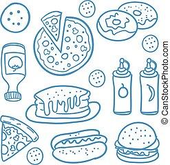 hurtig mad, samling, i, doodles
