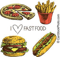 hurtig mad, set., hånd, stram, illustrationer