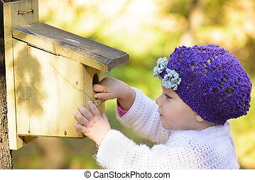hus, æn, kigge, barn, mærkelig, fugle