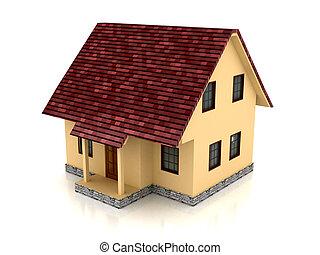 hus, över, vit fond, 3