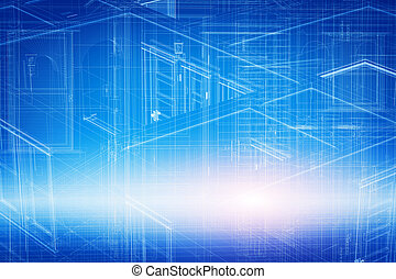 hus, 3, projekt, konstruktion, ind, lystryk, wireframe, geometriske, struktur