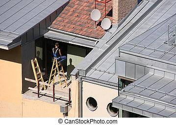 hus, arbetare, renovering