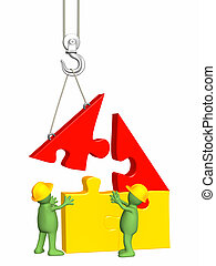 hus, arbete, byggnad, puppets, 3