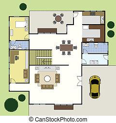 hus, arkitektur, floorplan, plan