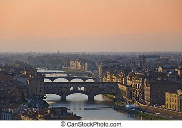 hus, arno flod, och, bro, av, florens, toskana, italien
