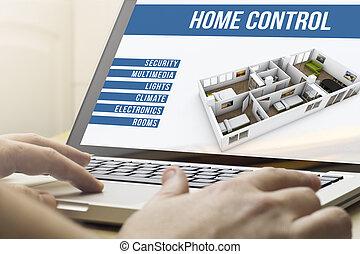 hus, automation, beräkning, hem