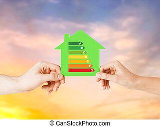 hus, avis, grønne, hånd ind hånd