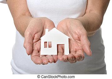 hus, avis, hænder