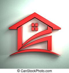 hus, båge, shinny, röd