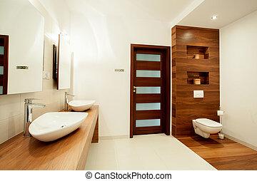 hus, badrum, spatiös, färsk