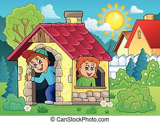 hus, barn, tema, 2, liten, leka