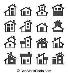 hus, bebyggelse, vektor, set., ikonen