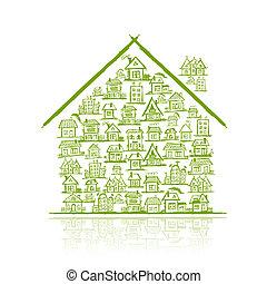 hus, begreb, konstruktion, din