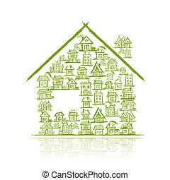 hus, begrepp, design, din