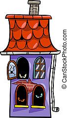 hus, besatt, tecknad film, illustration